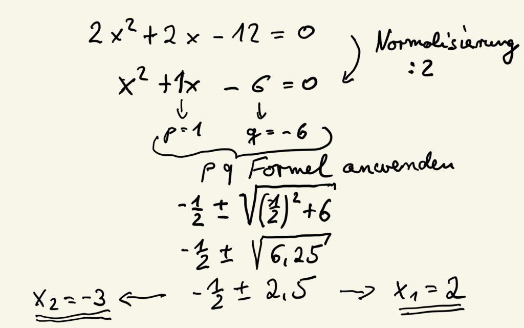 Beispiel zur p-q Formel