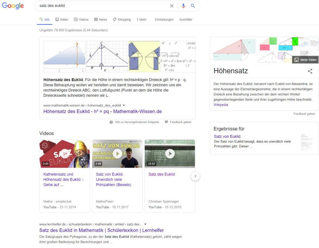 Google Suche nach Satz des Euklid