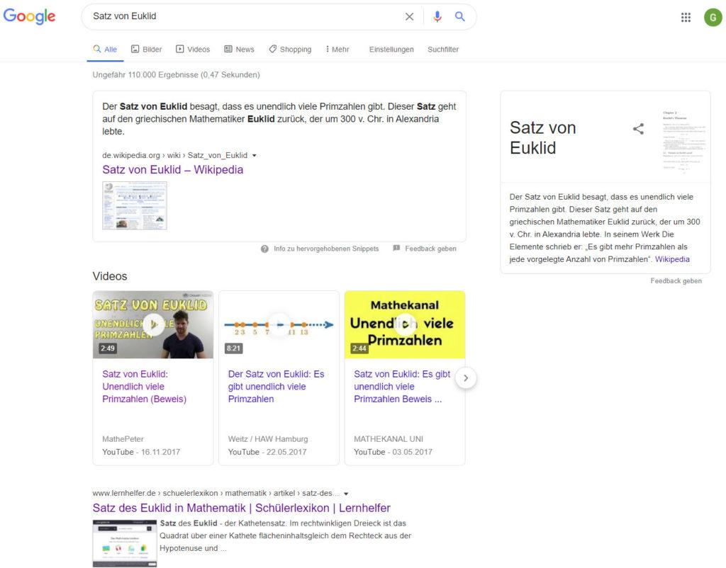 Google Suche nach Satz von Euklid